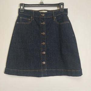Gap Sz 2 Jean Skirt Button Down Dark Wash Up EUC